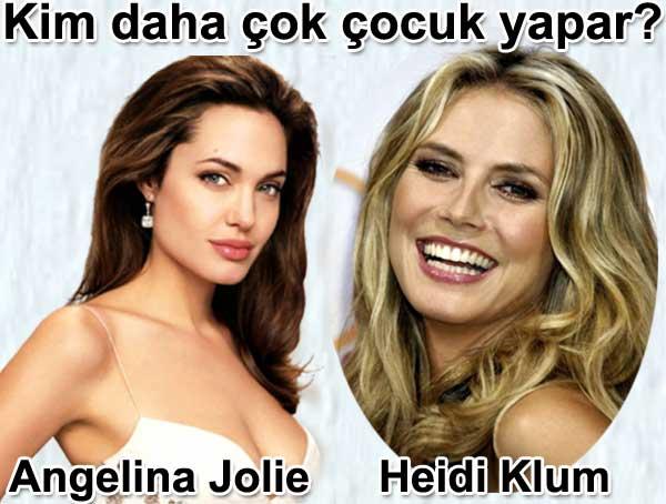 Kim daha çok çocuk yapar Heidi Klum mu Angelina Jolie mi