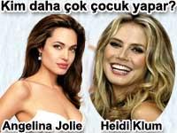 Hangisi daha çok çocuk yapar? Angelina jolie mi Heidi Klum mu?